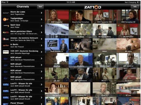 Zattoo iPad App - kostenloser download